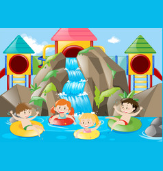 Kids swimming in the pool with waterfall vector