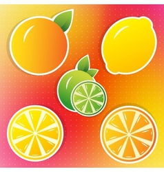 lemon lime and orange stickers vector image