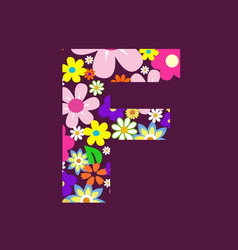 letter of beautiful flowers f vector image