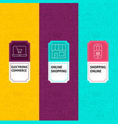 Line shopping patterns set vector