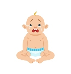 Little Baby Boy Sitting In Nappy Crying With Eyes vector image