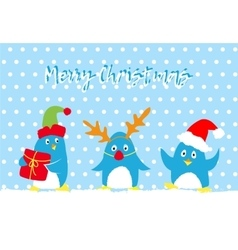 Merry christmas card with cute penguins vector