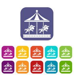 Merry go round horse ride icons set vector