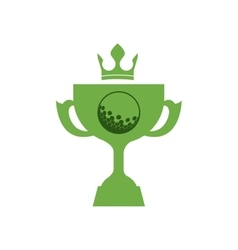 Monochrome silhouette with trophy cup of golf and vector