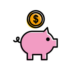 piggy bank with coin bank saving application vector image