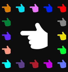 pointing hand icon sign Lots of colorful symbols vector image vector image