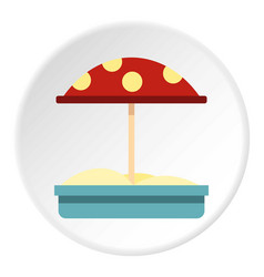 Sandbox with red dotted umbrella icon circle vector