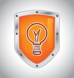 Security shield with light bulb vector image