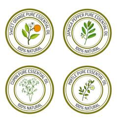 Set of essential oil labels sweet orange jamaica vector