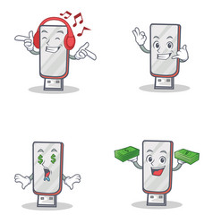 Set of flashdisk character with listening music vector