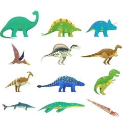 Set of isolated cartoon dinosaur or dino vector image