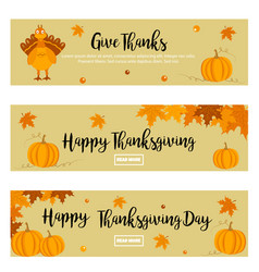 Set of thanksgiving banners with turkey pumpkins vector