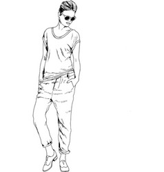 slender sporty girl drawn in ink by hand vector image