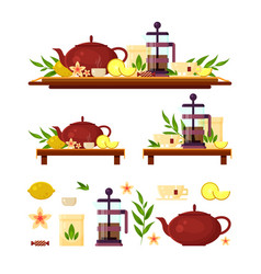 tea ceremony - teapot french press lemon cup vector image vector image