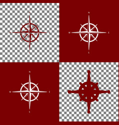 Wind rose sign bordo and white icons and vector