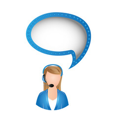 Woman call center with chat bubble vector