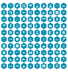 100 family camping icons sapphirine violet vector image vector image