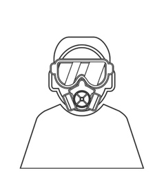 Person wearing gas mask icon vector