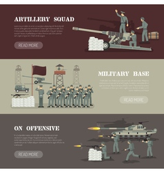 Military army horizontal banners set vector
