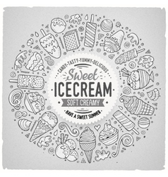 Set of ice cream cartoon doodle objects symbols vector