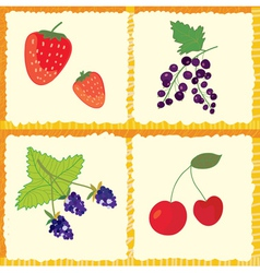 Berry and fruits seamless pattern vector