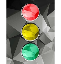 Traffic light on geometric background vector