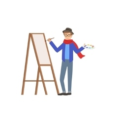 Man painter in scarf and hat creative person vector