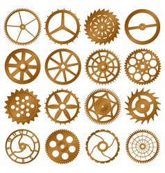 Set of copper watch gears vector