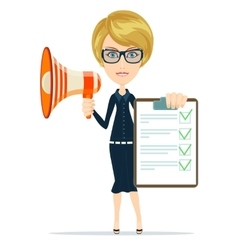 Business woman holding agreement and megaphone vector image