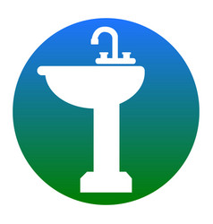 Bathroom sink sign white icon in bluish vector