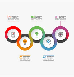 Timeline infographic banner of 5 round elements vector
