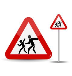 Road sign warning children in the red triangle vector