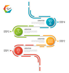 Abstract 4 steps road timeline infographic vector