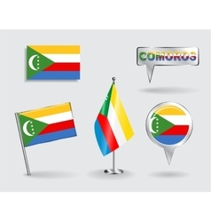 Set of comoros pin icon and map pointer flags vector