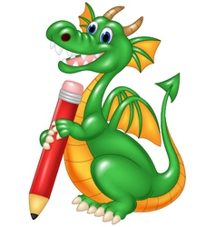 Cute dragon holding red pencil isolated vector