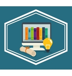 Book and e-learning icons design vector