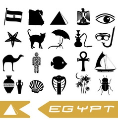 Egypt country theme symbols outline icons set vector