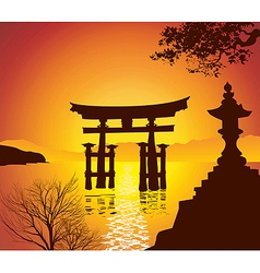 Lake with torii gate vector
