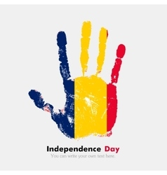 Handprint with the flag of chad in grunge style vector