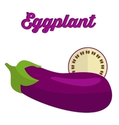 Eggplant - whole and cut vector