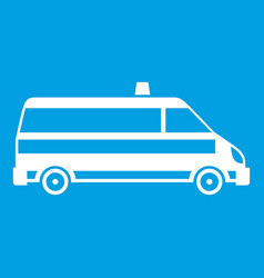 Ambulance car icon white vector