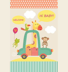 card with baby giraffe in car vector image vector image