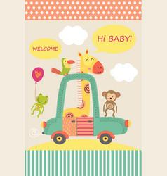 Card with baby giraffe in car vector