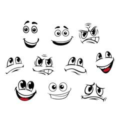 Cartoon faces set vector image vector image