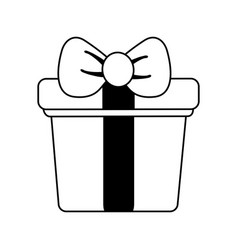 Closed gift box with ribbon bow icon image vector
