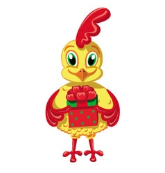 Cockerel with a gift vector