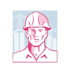 Construction Engineer Worker Hardhat vector image vector image