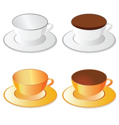 Cup white and orange for coffee vector