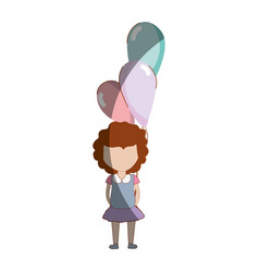 Cute girl with balloons in the hand vector