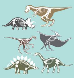 Dinosaurs skeletons silhouettes set fossil bone vector